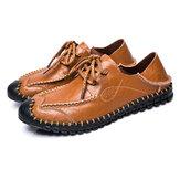 ErkeklerSoftHakikiDeriDüzLoafer'lar Lace Up Deri Ayakkabı