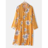 Chemise de nuit à manches longues à col à revers et imprimé floral pour femme avec reliure contrastée