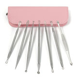 7Pcs Pink Bag Multipurpose Acne Blackhead Comedone Remover Extractor Stainless Steel Tool Set Kit