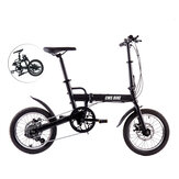 CMSBIKE F16B 16 Inch Mini Folding Bike 6 Speed Derailleur Double Disc Brake Suspension Cycling Bicycle