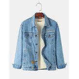Erkek Vintage Çok Cep Yaka Uzun Kollu Mavi Kot Ceket