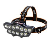 XANES® 12*P90 LED Headlamp USB Rechargeable Long Shoot 4 Modes Bike Head Torch Flashlight Waterproof Camping Fishing