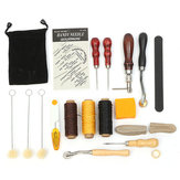 17pcs Leather Carft Hand Stitching Sewing Tool Set Kit Thread Awl Waxed Thimble
