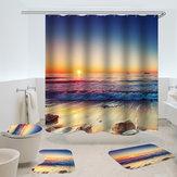 ImpermeableCortinadeduchaAlfombraantideslizante Three Set Cuarto de baño Decor Blue Ocean Puestadesol