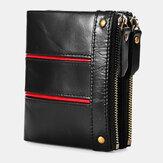 Férfi valódi bőr RFID lopásgátló viasz retro cipzáras marhabőr kártyatartó pénztárca