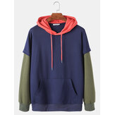 Mens Colorblock Patchwork Loose Casual Doctor Sleeves Hoodies With Muff Pocket