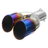 63mm Universal Car Rear Dual Air-Outlet Exhaust Pipe Bluing Tail Muffler Tip