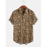 Mens Cotton Leopard Print Casual Lapel Collar Camisas de manga curta