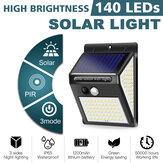 PIR Motion Sensor 3 modos 140LED luz solar lâmpada de parede de jardim ao ar livre super brilhante
