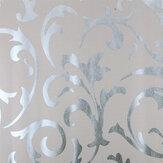 Wysokiej jakości wiktoriański adamaszek teksturowy materiał tapetowy srebrnoszary