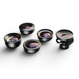 APEXEL APL-HD5V2 5 in 1 Fisheye Macro Wide Angle Teleconverter Portrait Lens for Mobile Phone Photography