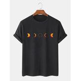 Bawełniane, designerskie, oddychające koszulki z krótkim rękawem z nadrukiem księżycowego eclipse