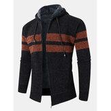 Cardigan maglione con cappuccio caldo con cerniera lavorata a maglia colorblock da uomo