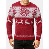 Mens Christmas Style Elk Graphics Round Neck Long Sleeve Warm Knitted Sweaters
