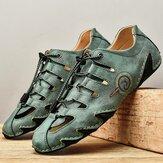 Sapatos casuais com costura masculina e confortável antiderrapante Soft elástico com costura à mão
