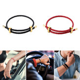 LUCKYME 25/44cm Genuine Leather Bracelet 316 Steel Buckle Hand Strap Wristband for Men Women