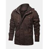 Mens Vintage Warm Inside Velvet Long Sleeve Multi Pocket Hooded Jacket