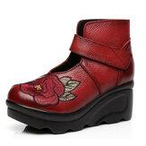 SOCOFYWomenEmbroideryGanchoLoopWedge Shoes