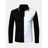 Chemises de golf à manches longues à revers patchwork de couleur contrastée pour hommes