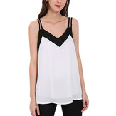 XS-4XL Women Sexy Strap V Neck Backless Chiffon Vest Tank Top