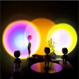 Lâmpada de projeção do sol robô 360 ° Giratória Sunshine Rainbow projetor lâmpada Atmosfera mágica Luz noturna Stepless dimerização USB Touch Switch Lâmpada de mesa para decoração de casa