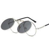 UV400 Vintage Steampunk Flip Up Men Óculos de Sol Feminino Retro Armação de Metal Redonda Sun Óculos Dobradiça Design Curva Óculos Pernas