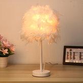 Abajur de mesa de cabeceira com abajur de penas moderno, decoração faça você mesmo, casa sem lâmpada