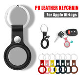 Portable Pure PU Leather Protective Cover Sleeve with Keychain for Apple Airtags bluetooth Tracker