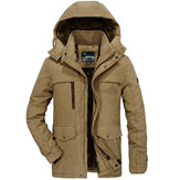 Mens Big Size Fleece Thick Warm Hooded Destacável Outdoor Jacket Winter Work Coat