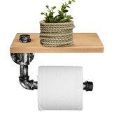 Industriële zilveren stedelijke rustieke ijzeren pijp Toiletpapier Roller houder badkamer hout plank opslag
