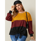 Women Tricolor Color Block Patchwork Waffle Knit Knotted Casual Plus Size Blouse