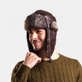Original              Men PU Leather Velvet Winter Keep Warm Ear Protection Solid Color Leather Hunting Cap Trapper Hat