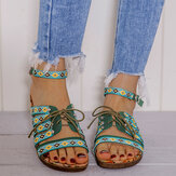 LOSTISY Damen Bohemian Embroideried Folkways Open Toe Schnalle Casual Summer Beach Flat Sandalen