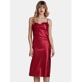 Spaghetti Adjustable Straps Backless Satin Glossy Nightgown