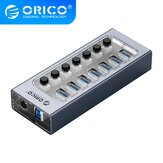 ORICO AT2U3 USB3.0 HUB 7/10/13/16 Ports Aluminum + Transparent USB Splitter On/Off Switch With 12V Power Adapter Charger for iPhone 12 Pro Max for Samsung Galaxy Note S20 ultra Huawei Mate40