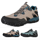 HUMTTO Hiking Shoes for Men Breathable Lace Up Leather Shoes Mens Shockproof Outdoor Climbing Trekking Running Sneakers