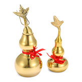 Gold Brass Feng Sui Gourd with Red Ribbon Good Luck Collection Decorations