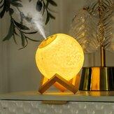 Увлажнитель воздуха 1500 мл 3D Moon Лампа Aroma Essential Масло Диффузор 1200mAh Батарея Воздухоочиститель Туман Maker для офиса и дома