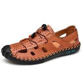Szycie ręczne sandałów z prawdziwej skóry