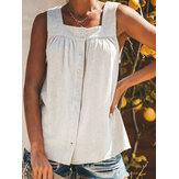 Women Solid Color Button Strap Tank Tops