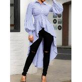 Women Stripe Print Swallowtail Long Shirts Casual Blouse