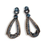 Boucles d'Oreilles Pendantes en Or et Cristal Saphir Vintage Dangle
