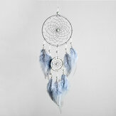 DIY Dream Catcher Wall Decor Blue Feather Handmade Dreamcatcher for Bedroom