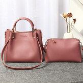 KobietyFauxLeatherDwuczęściowyzestawBucket Bag Handbag