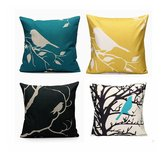 45x45cm Bird Square Pillow Case Cushion Cover Sofa Throw Home Bedroom Decor