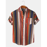 Hommes Coton Colorful Stripe Button Up Turn Down Collar Short Sleeve Casual Shirts