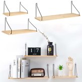 Wall Shelf Wood Iron Hanging Holder Storage Wall Mount Rack Home Display Decorations