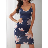 Women Sleeveless Floral Print Backless Bodycon Dress