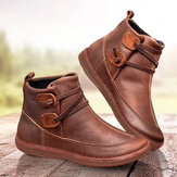 Womens Classic Stitching Slip On Solid Color Slip Resistant Winter Ankle Boots