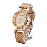 Fashion Moon Pendant Casual Bilateral Drill Oval Women Wristwatch